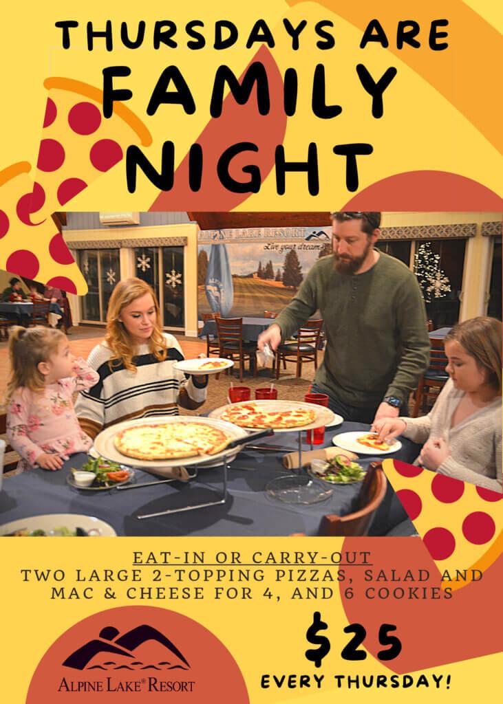 Thursdays are Family Night at Alpine Lake Resort